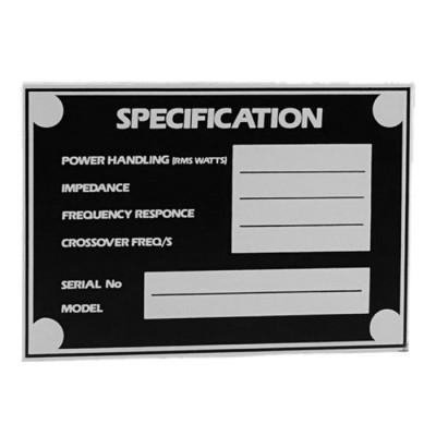 Type Plate self-adhesive